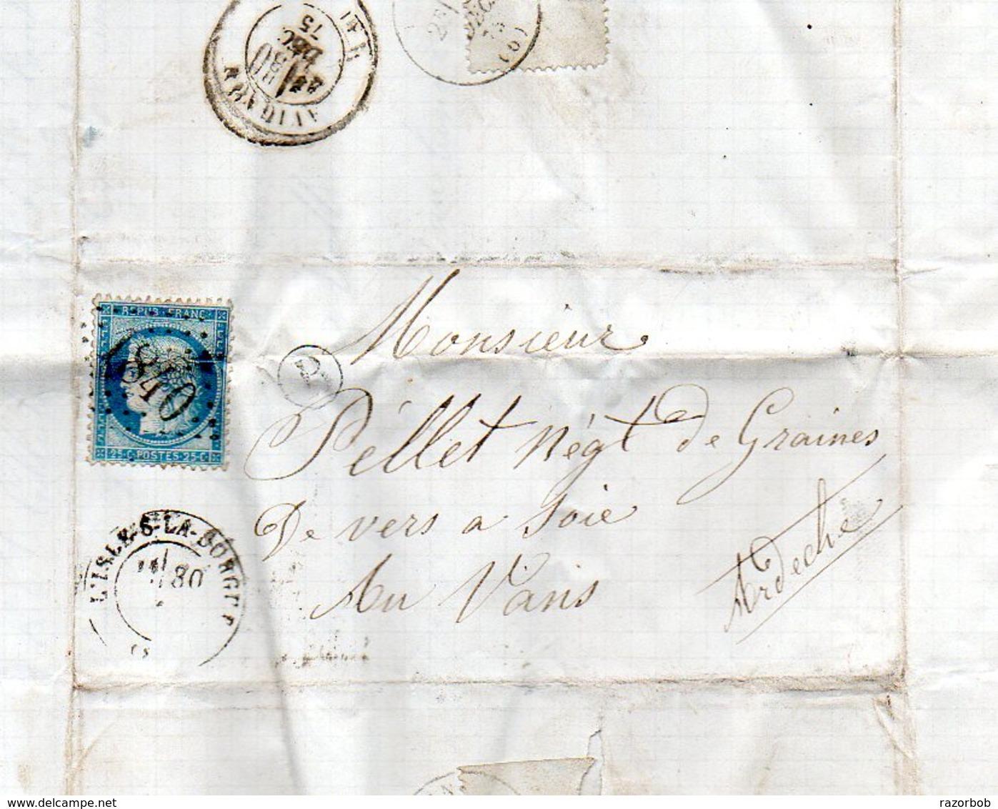 LAC L'Isle Sur La Sorgue Vaucluse 1875 GC Sur Ceres 25c   BR B :  Cabrière   H778 - France