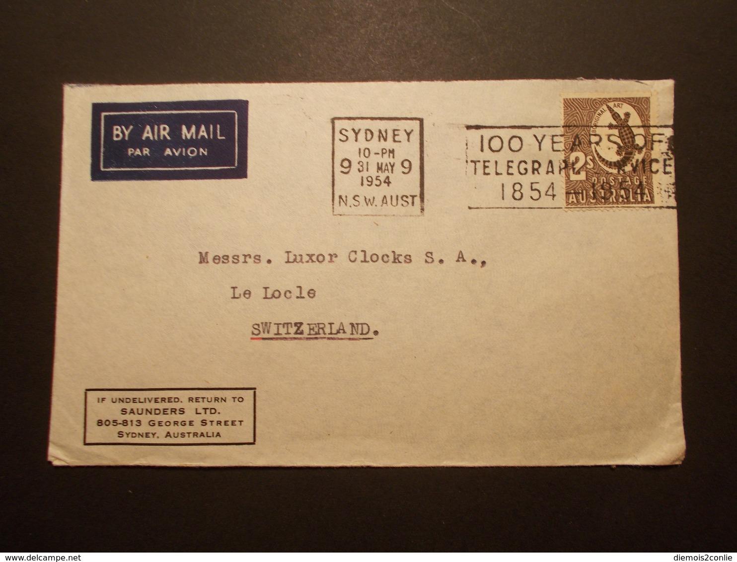 Marcophilie  Cachet Lettre Obliteration - Enveloppe AUSTRALIE Destination SUISSE - 1954 - (1879) - Marcophilie