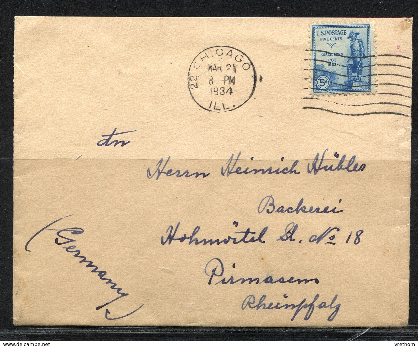 USA, 1934   Cover,  USA  To  Germany - Etats-Unis