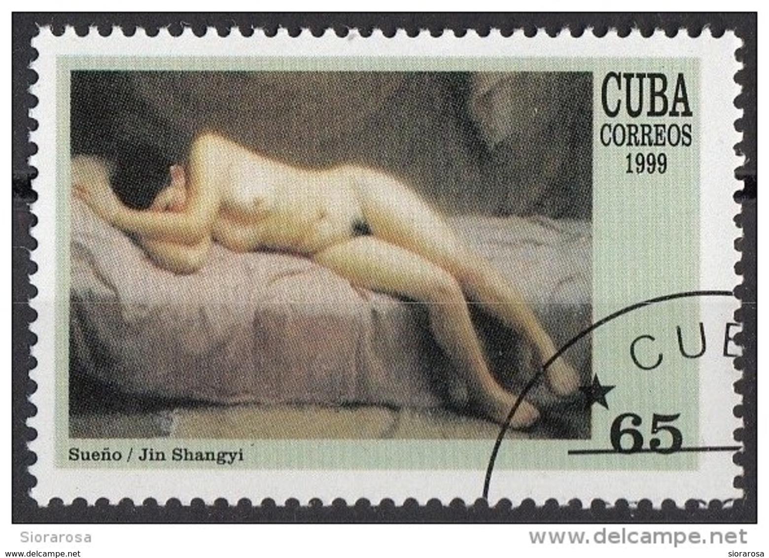"Cuba 1999 Sc. 4028 ""Sleep"" Quadro Dipinto Da Jin Shangyi Preobliterato Paintings Tableau - Nudes"