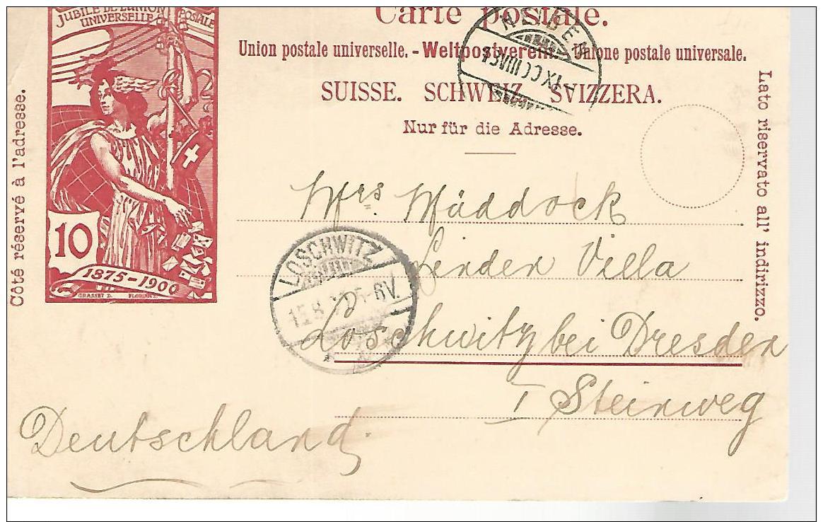 37759 ) Switzerland Cover See Scan Postcard - 1882-1906 Armoiries, Helvetia Debout & UPU