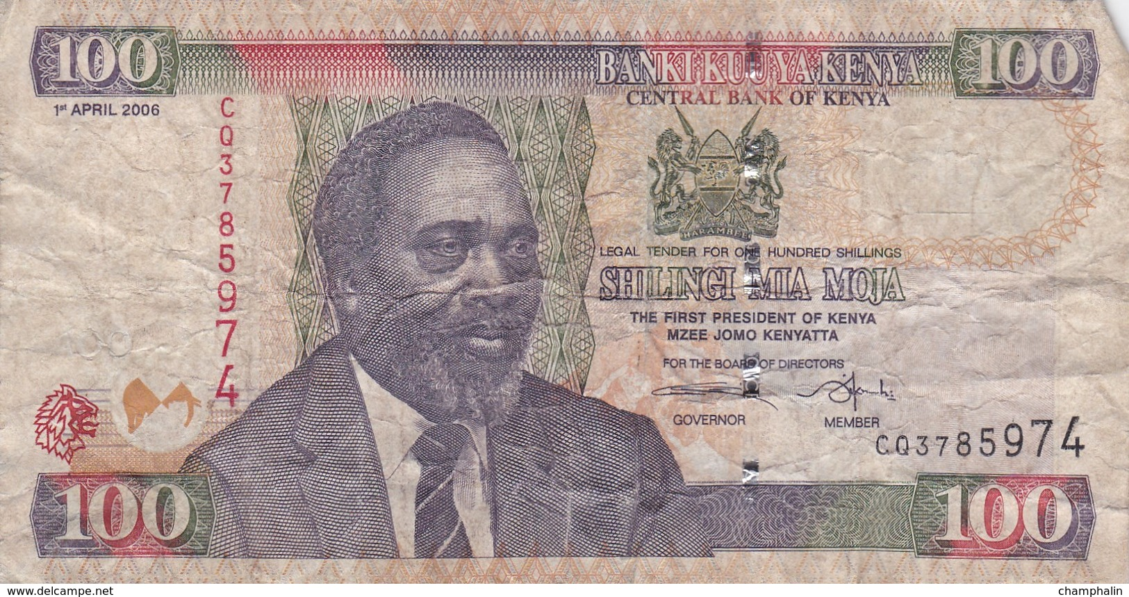 Kenya - Billet De 100 Shillings - Mzee Jomo Kenyatta - 1er Avril 2006 - Kenya