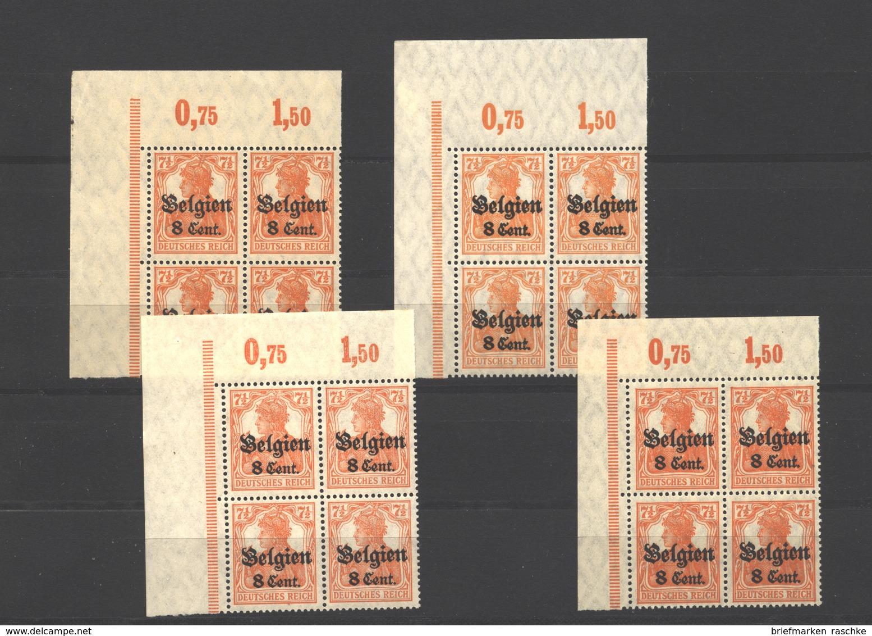 Belgien,Nr.13,alle 4 Typen Als Eck-VB,xx (3750) - Besetzungen 1914-18
