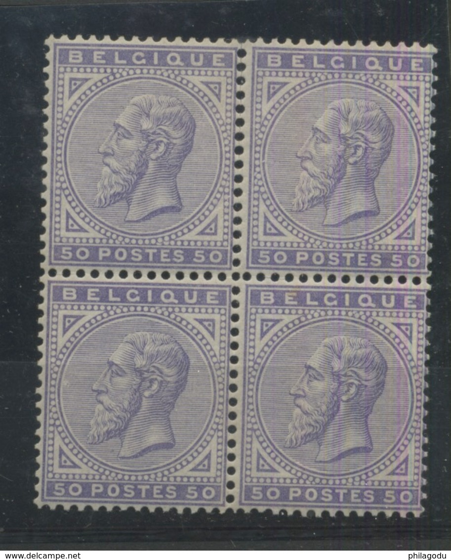 41 ** Bloc De 4  Bon Centrage    Cote 5000,- Euros - 1883 Léopold II