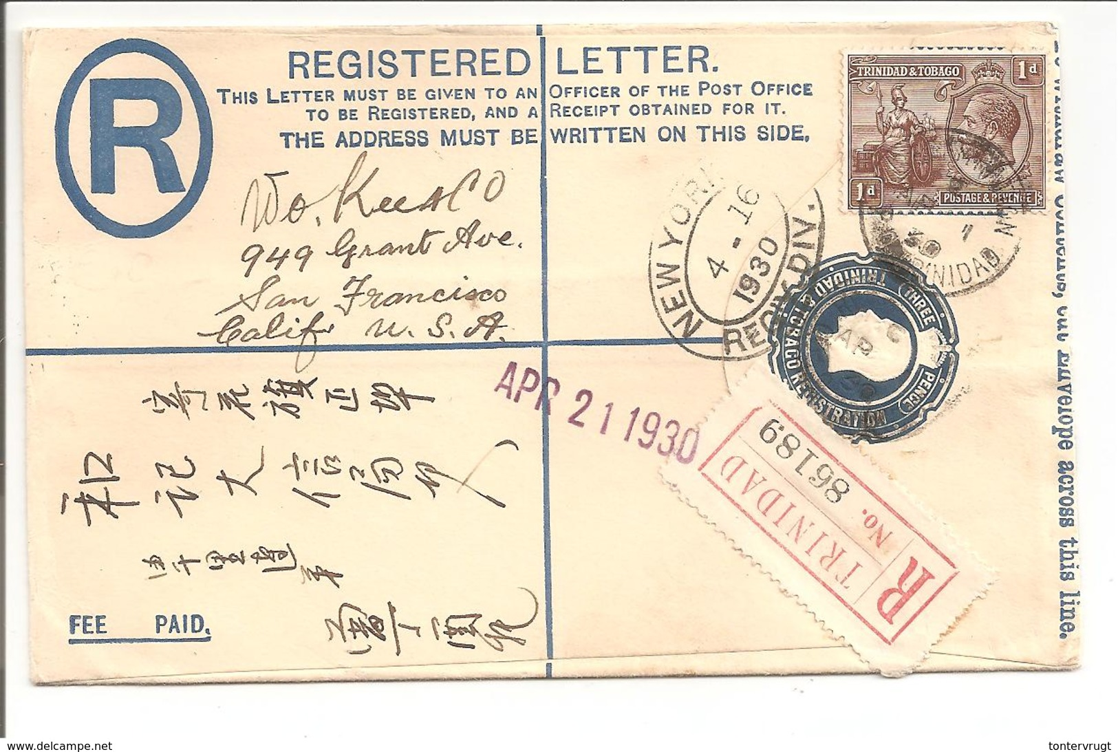 Trinidad Stationary Registerd Letter 1930>U.S.A. Senders Adress Chinese - Trinité & Tobago (...-1961)