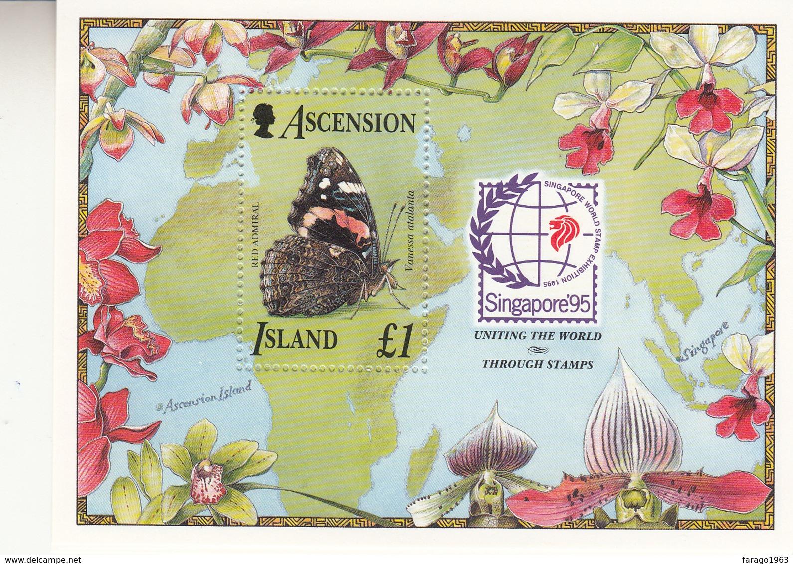 1995 Ascension Butterflies Singpex Souvenir Sheet Complete  MNH - Ascension (Ile De L')