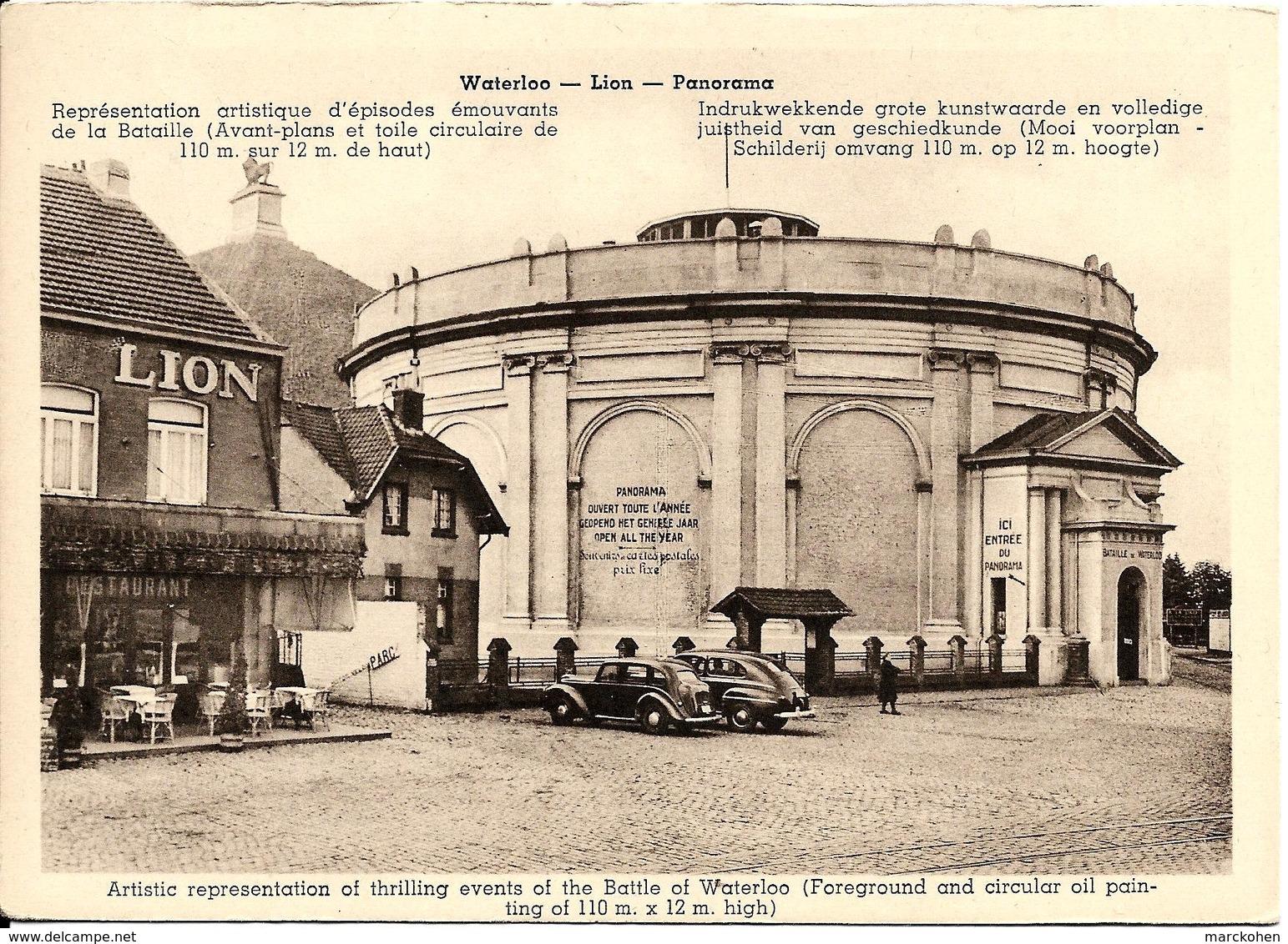 Waterloo (1410) : Le Restaurant Du Lion Et Son Panorama Géant De La Bataille De 1815 (beaux Véhicules). CPA. - Waterloo
