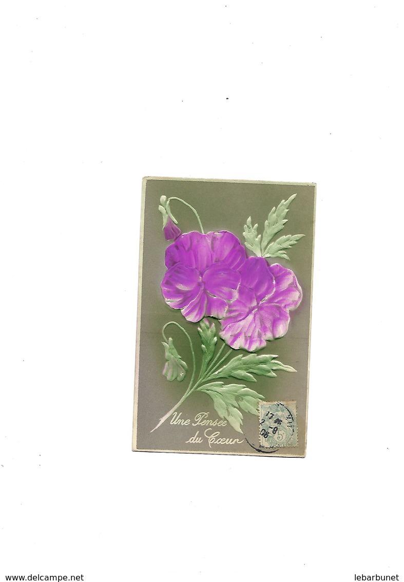 Carte Postale Ancienne Fleurs En Relief - Autres