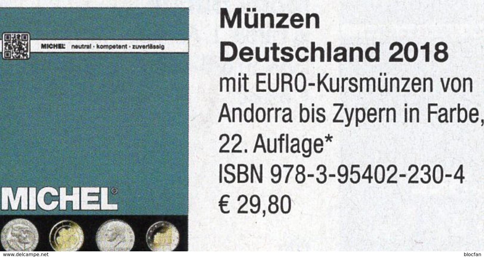 Münzen Deutschland/EURO MICHEL 2018 New 30€ D Ab 1871 3.Reich BRD DDR Numismatik Coins Catalogue 978-3-95402-230-4 - German