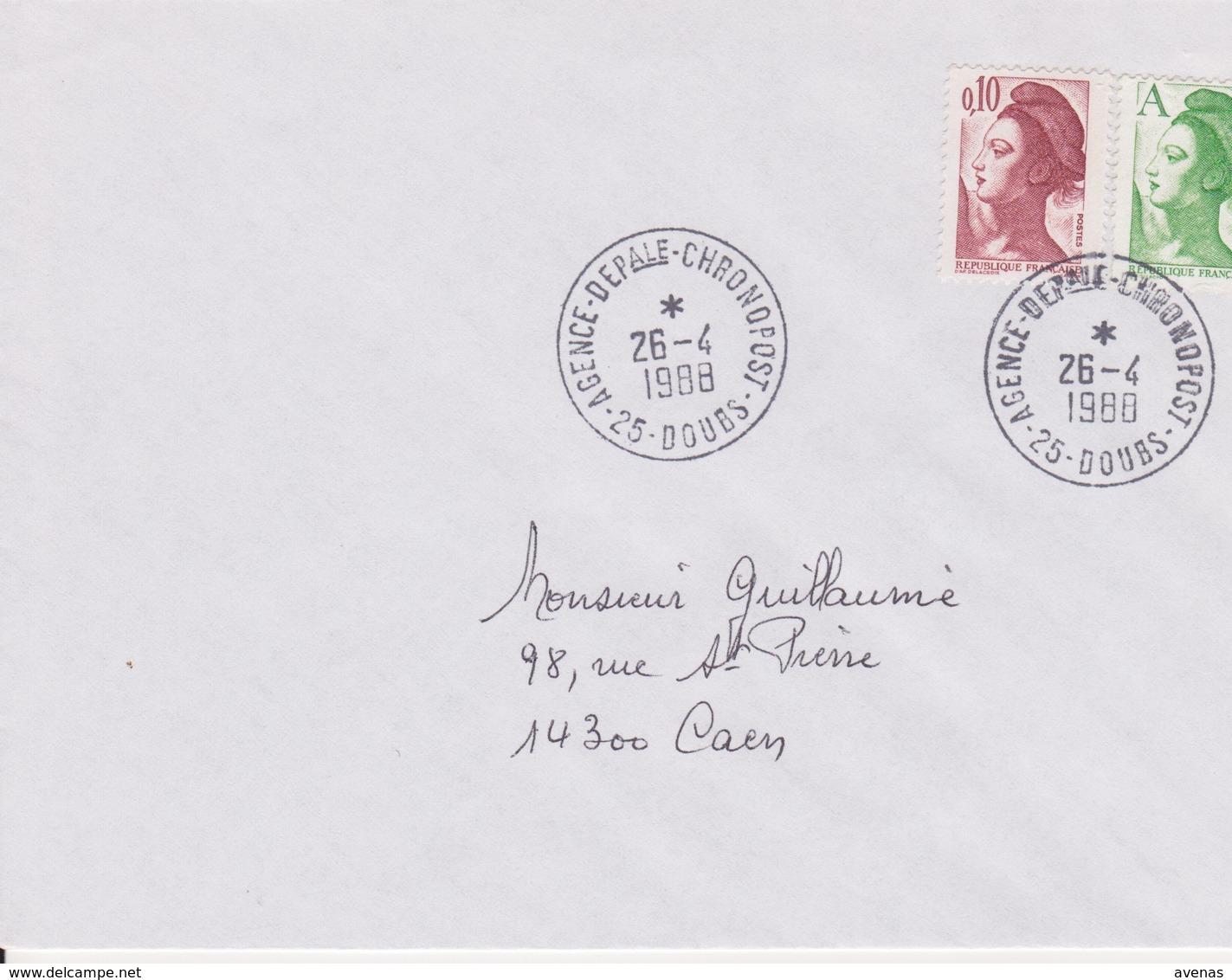 Lettre 1988 TàD Manuel AGENCE DEPartementale CHRONOPOST 25 DOUBS Besançon Sur Liberté A - Marcofilie (Brieven)
