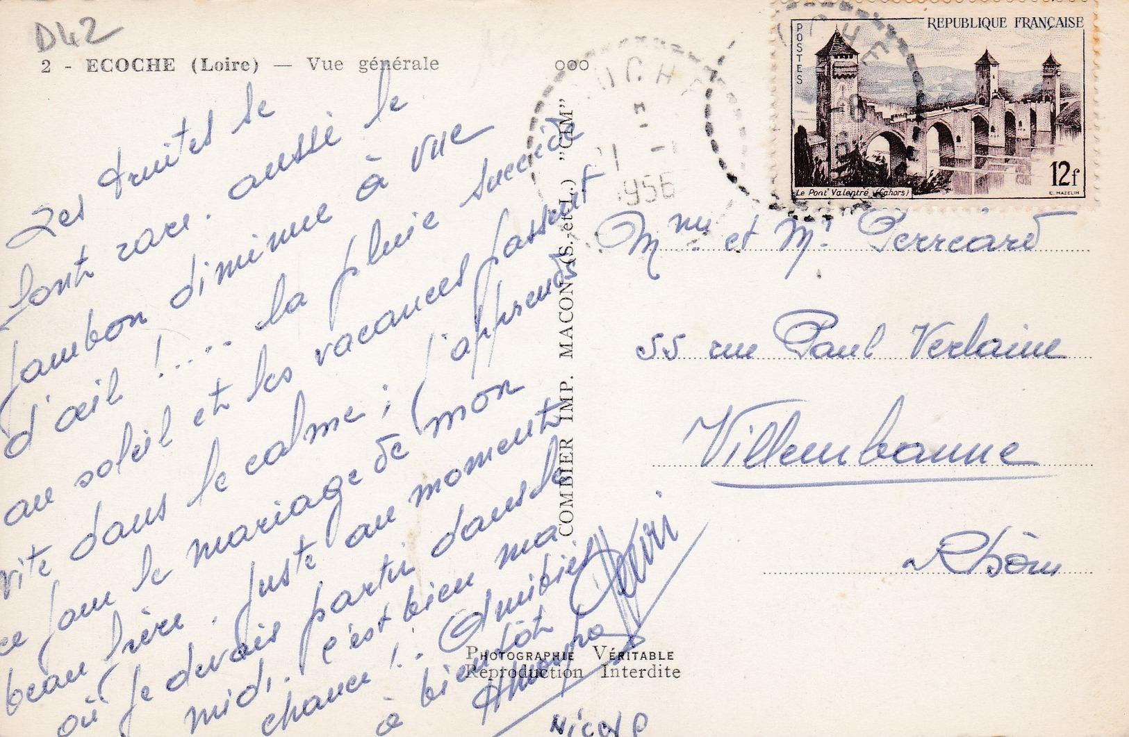 G12 - 42 - Ecoche - Loire - Vue Générale - Carte Photo - N° 2 - Autres Communes