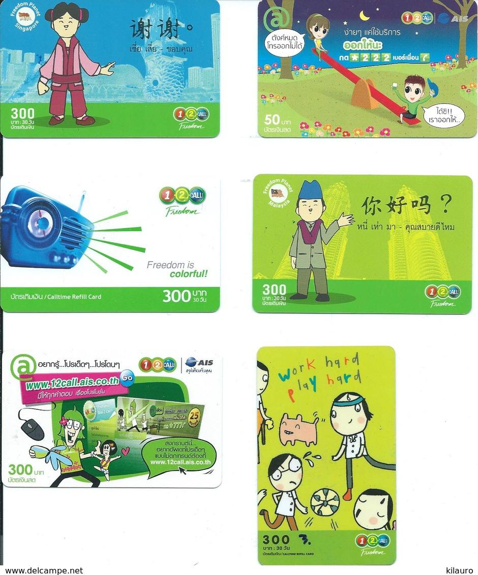 6 Cartes Prépayées Thailande Diverses Comic BD Jeux Jeu D'enfant   (D 452) - Thaïlande