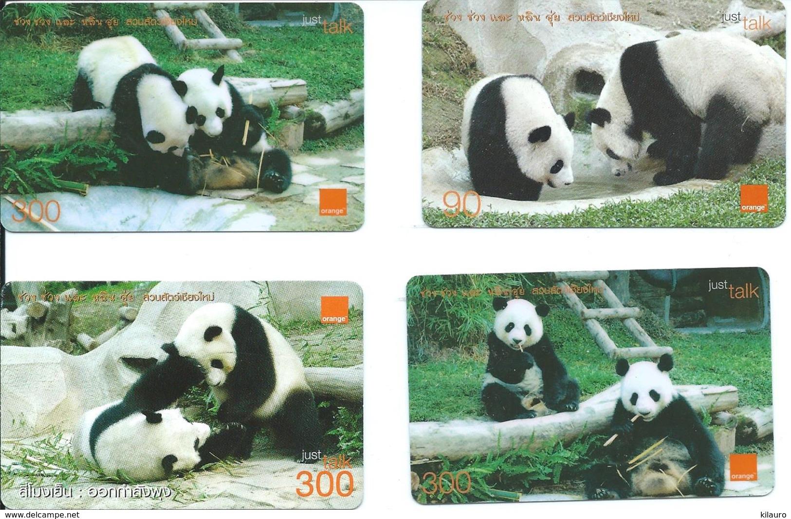 4 Cartes Prépayées Thailande Top Ut Panda Animal Jungle (D 454) - Thaïlande