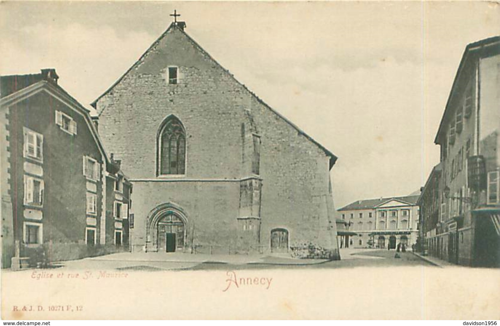 Cpa -  Annecy  -   L 'église Et Rue St Maurice          Z225 - Annecy