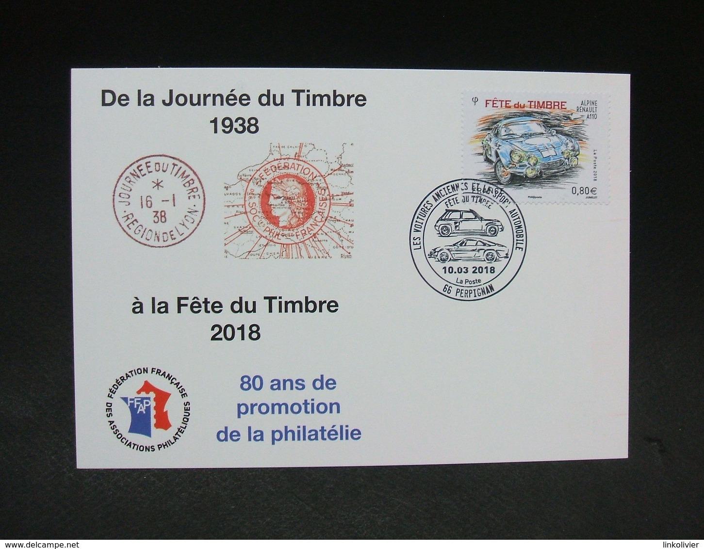 FRANCE CP ALPINE RENAULT A110 Oblitération 1er Jour FFAP - De La Journée Du Timbre 1938 à La Fête Du Timbre 2018 - FDC