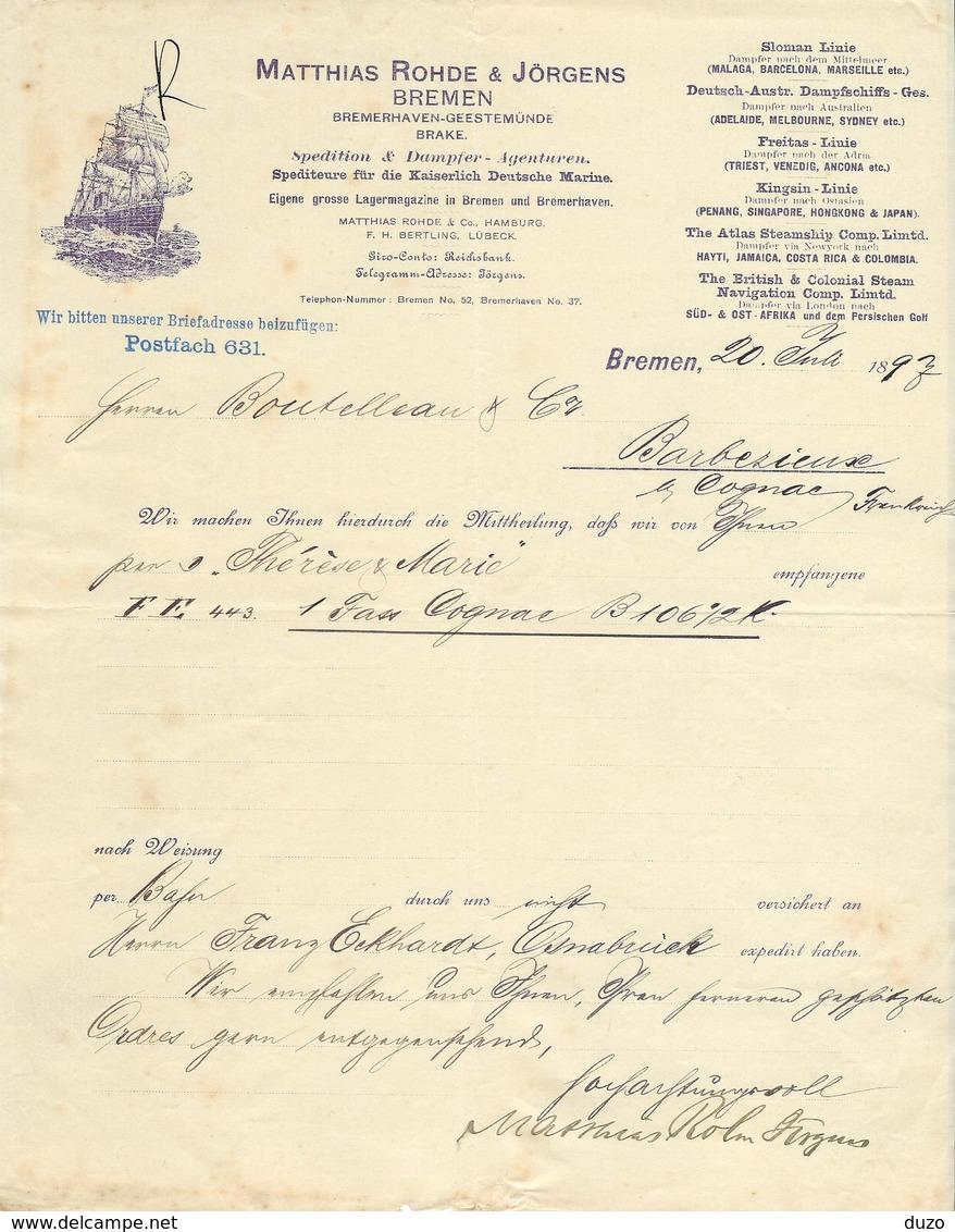 Maritime // Allemagne - Bremen - Entête Du 20 Juli 1897 - Matthias Rohde & Jörgens - Transports
