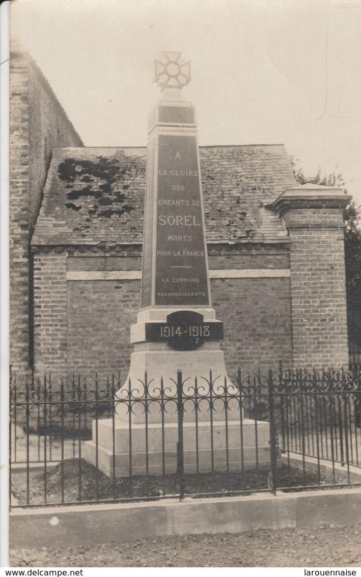 80 - SOREL - Monument Aux Morts (carte Photo) - France