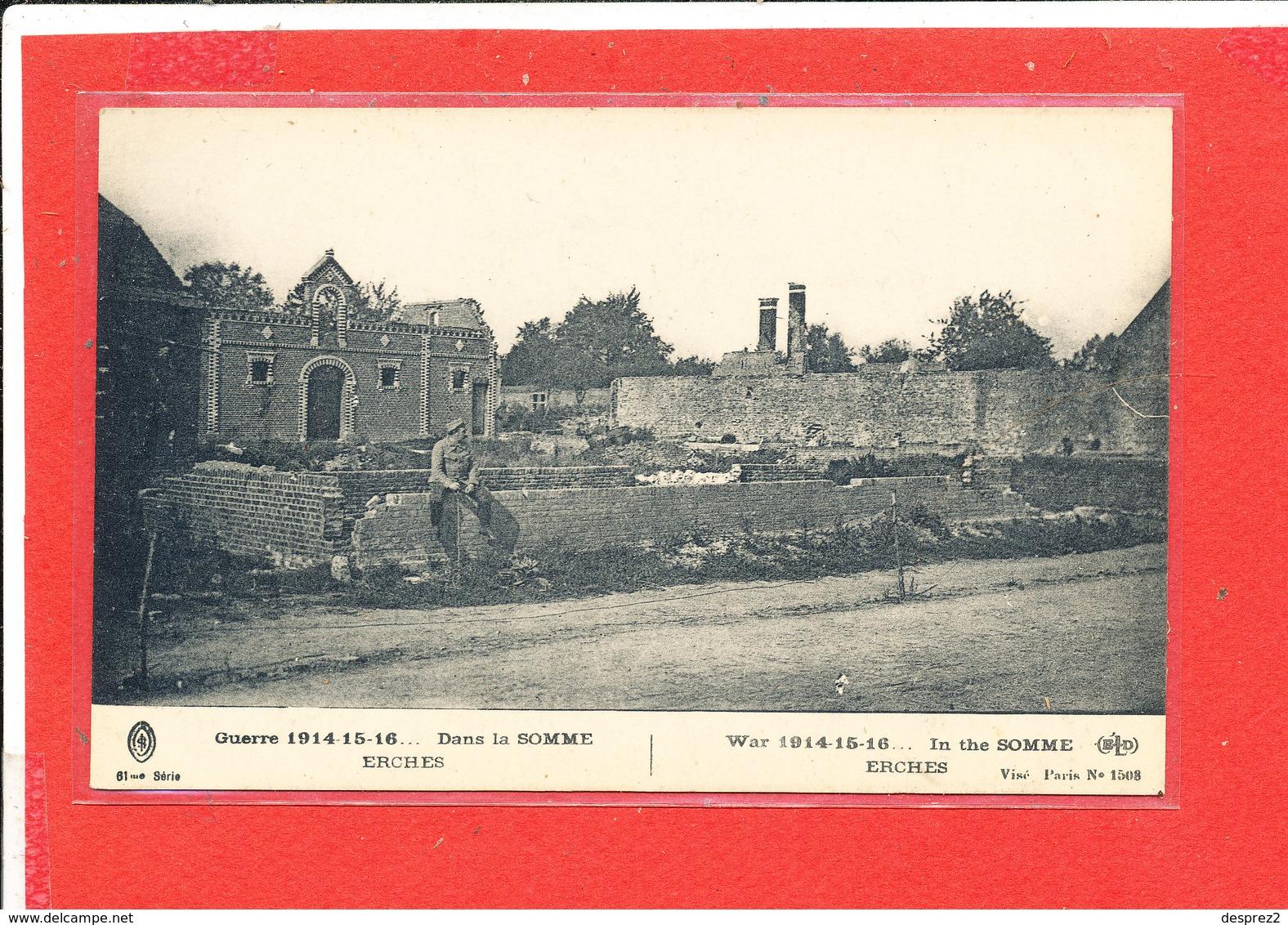 80 ERCHES Cpa Animée SOLDAT Devant Maisons En Ruine         1508 ELD - France