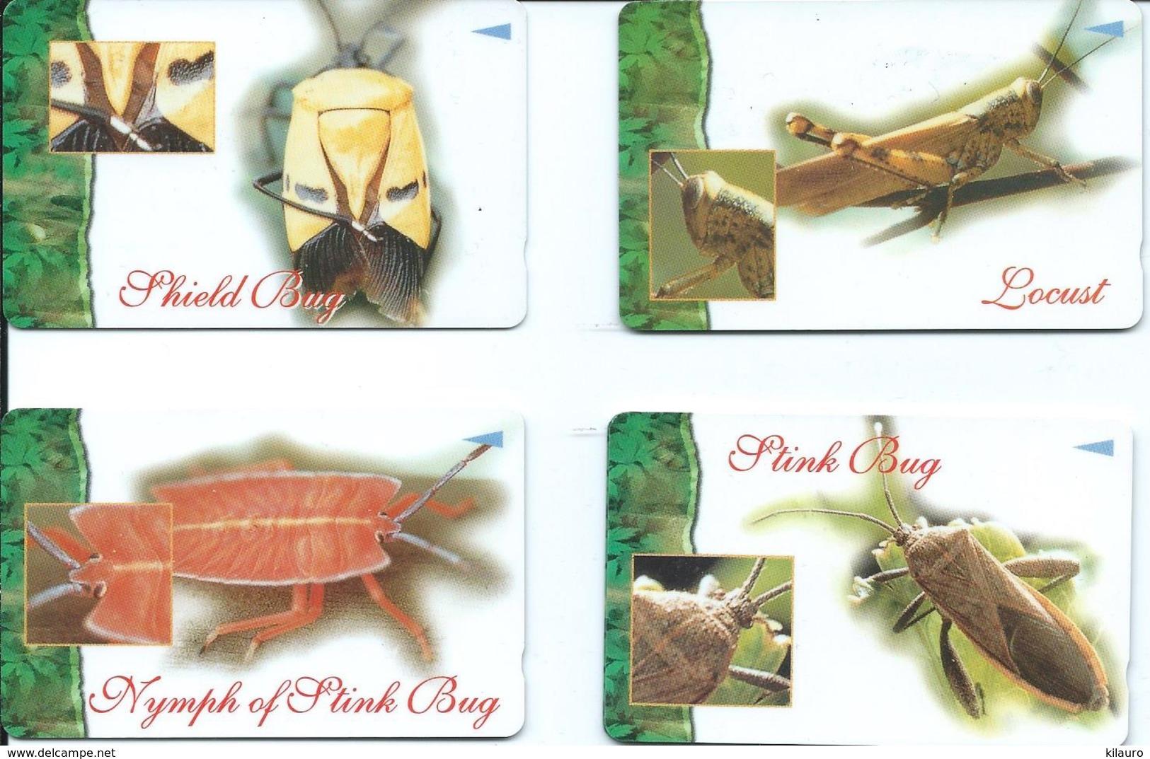 4 Télécartes Singapour Animal Insecte (D 456) - Singapour