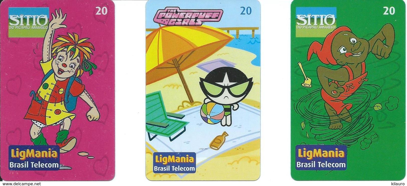 3 Télécartes Brésil Comic LigMania BD Dessin Animé (D 459) - Brésil