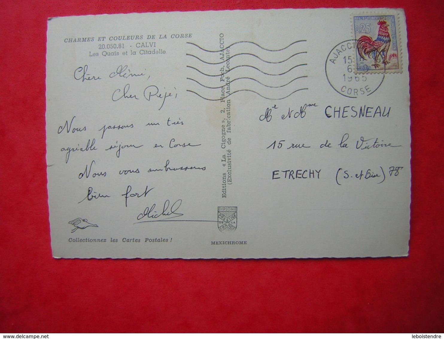 CPSM CHARMES ET COULEURS DE LA CORSE  CALVI  LES QUAIS ET LA CITADELLE    VOYAGEE 1965 TIMBRE - Calvi