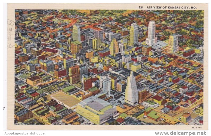 Missouri Kansas City Aerial View 1945 Curteich