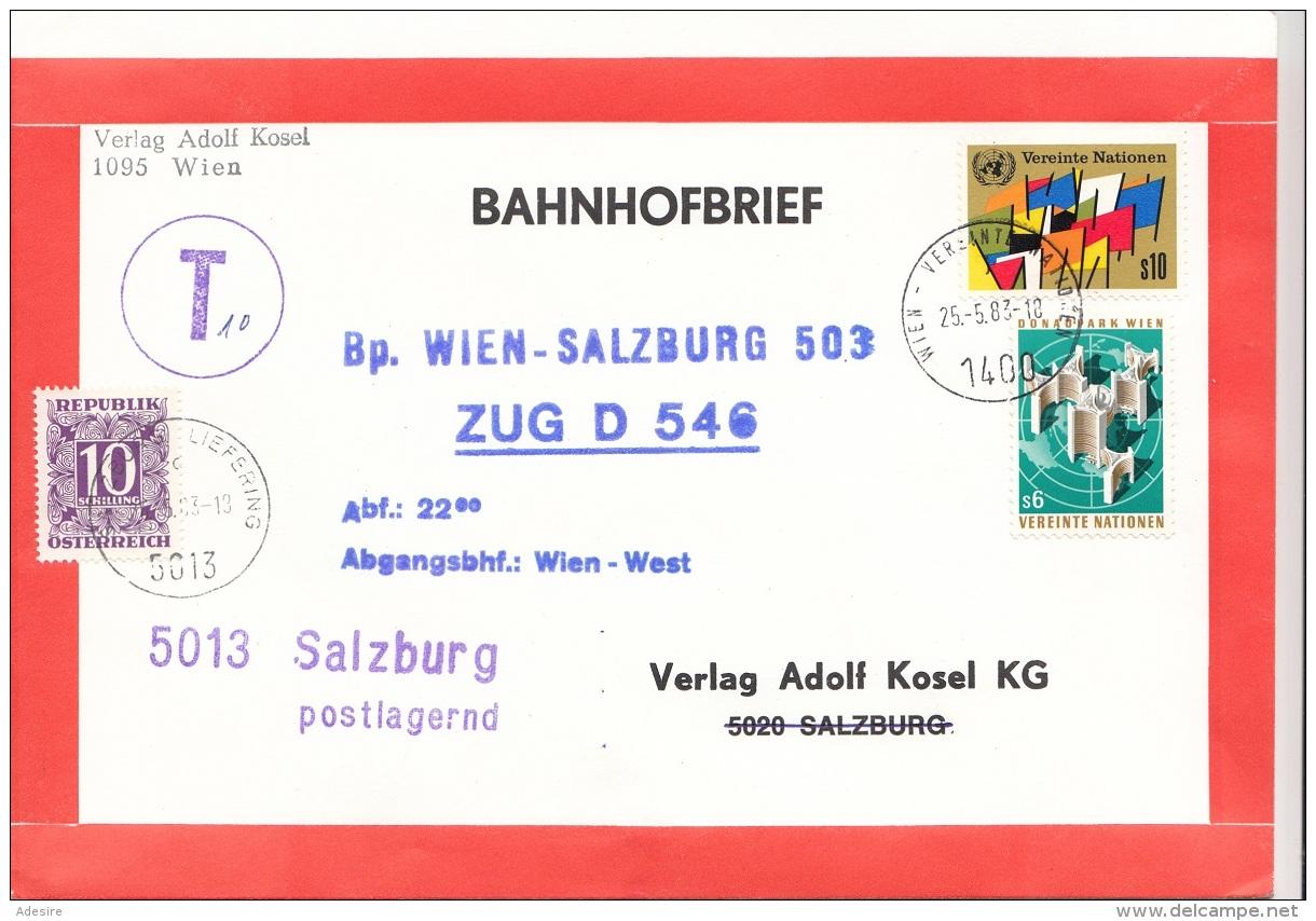 ÖSTERREICH NACHPORTO 1983 - 10 S Nachporto + 6 + 10 S Vereinte Nationen Auf Bahnhofbrief, Gel.Wien > Salzburg Postlag - Portomarken