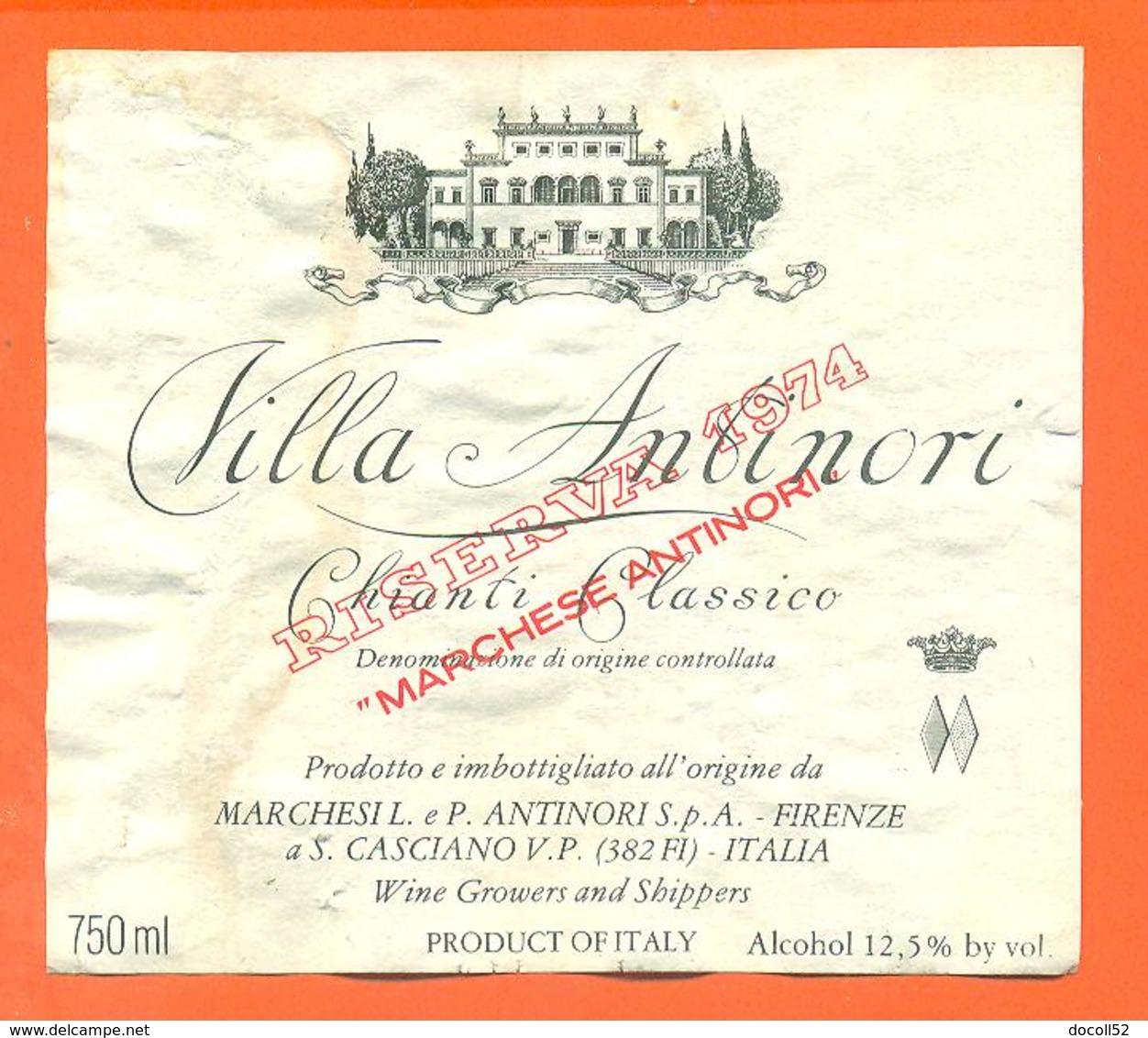 étiquette De Vin Italie - Italia Vino Chianti Classico Villa Antinori 1974 - 75 Cl - Altri