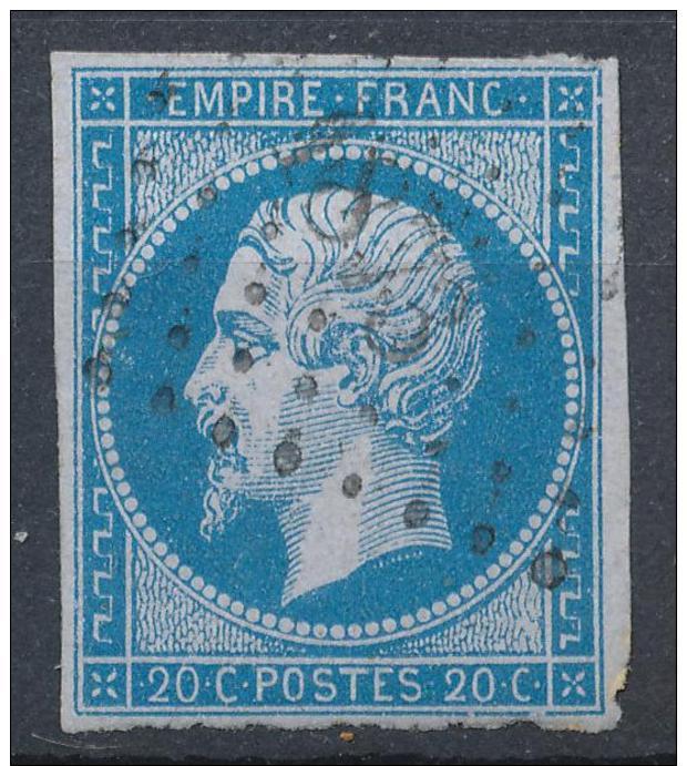 N°14Ac BLEU SUR LILAS TIMBRE SIGNE - 1853-1860 Napoléon III