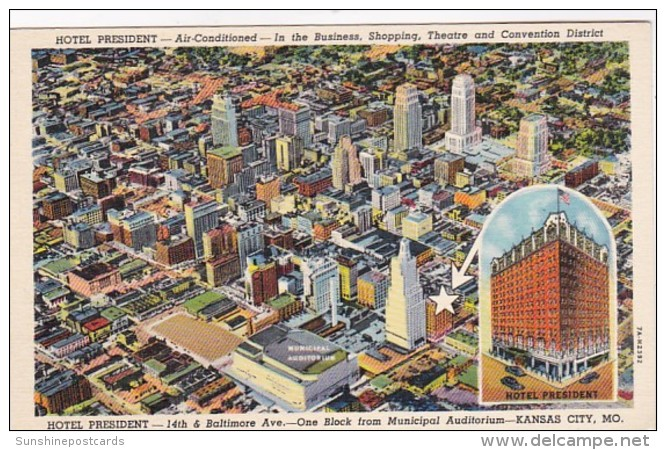 Missouri Kansas City Hotel President 1946 Curteich