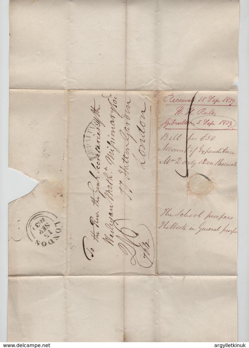 GIBRALTAR 1839 WESLEYAN METHODIST MISSIONARY - Gibraltar