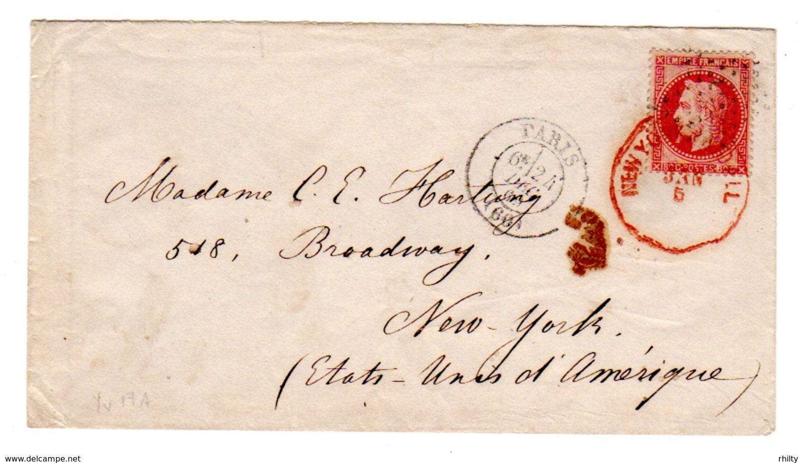 France Scott 36 Single Franking To New York - 1863-1870 Napoleon III With Laurels