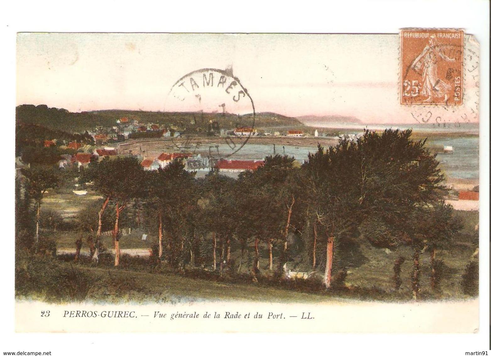 LOT 4 CPA Perros Guirec - Le Port---+ Vu De La Jetée---+ Et Les Bateaux + Vue Générale De La Rade Et Du Port 1918 - Perros-Guirec