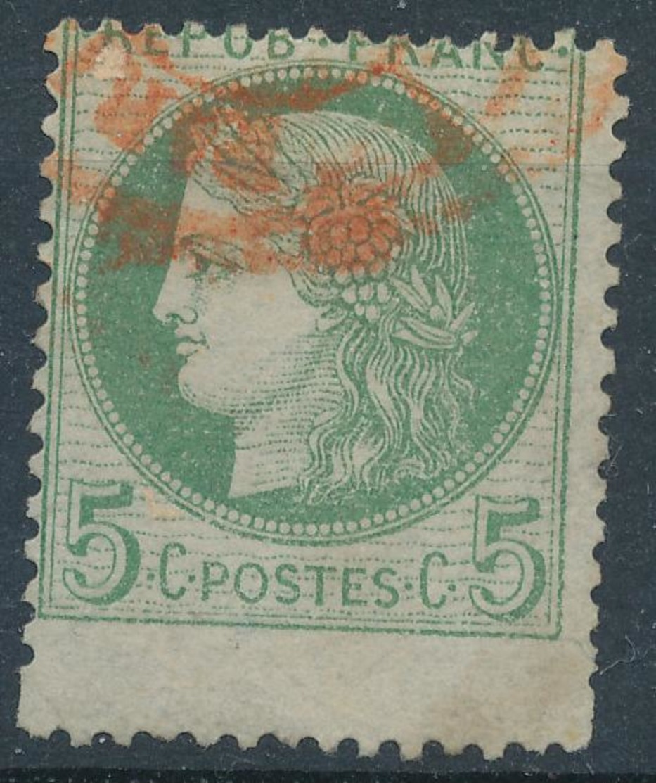 N°53 GRAND TIMBRE PIQUAGE A CHEVAL CACHET ROUGE. - 1871-1875 Ceres