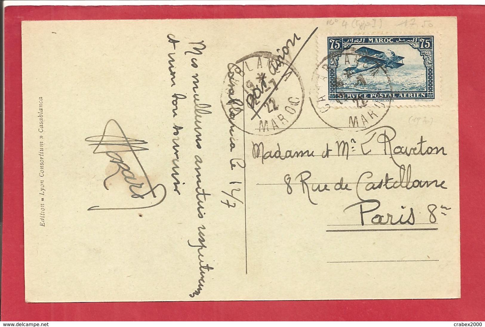 Y&T N°PA4 TRES RARE CASABLANCA   Vers FRANCE 1922 2 SCANS - Lettres & Documents