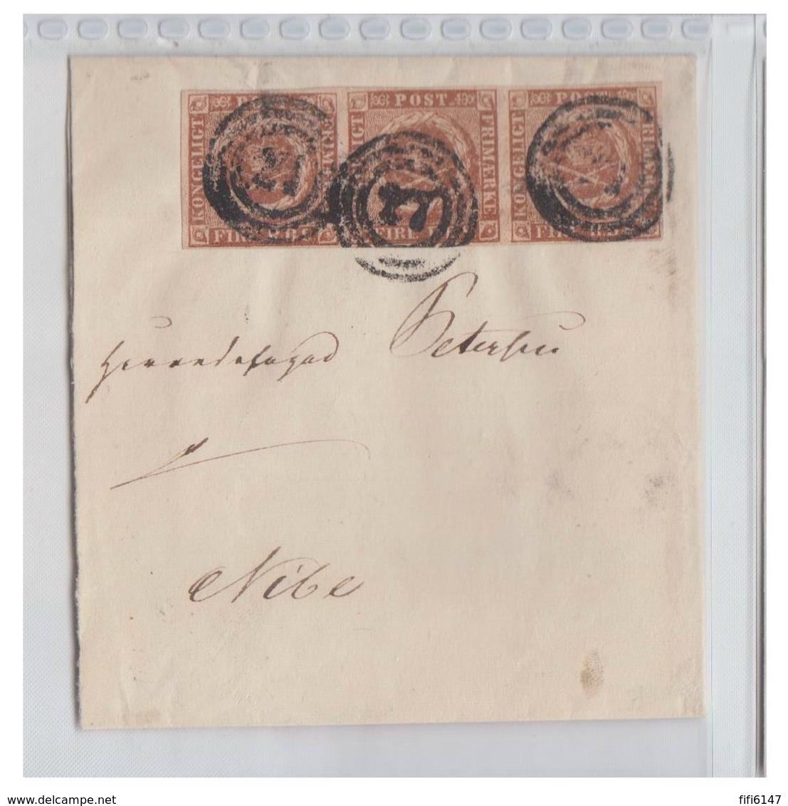 DANEMARK -1854--FIRE R.B.S. --PLANCHE III -- BANDE DE TROIS SUR GRAND FRAGMENT-- - 1851-63 (Frederik VII)