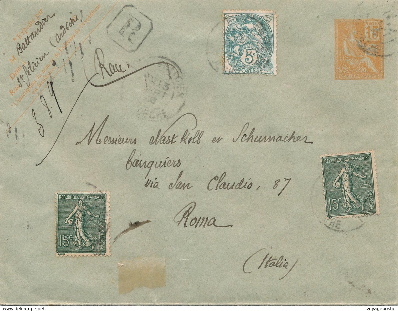 Entier Recommandée ST Felicien Ardeche Mouchon, Blanc, Semeuse Pour Rome - Postmark Collection (Covers)