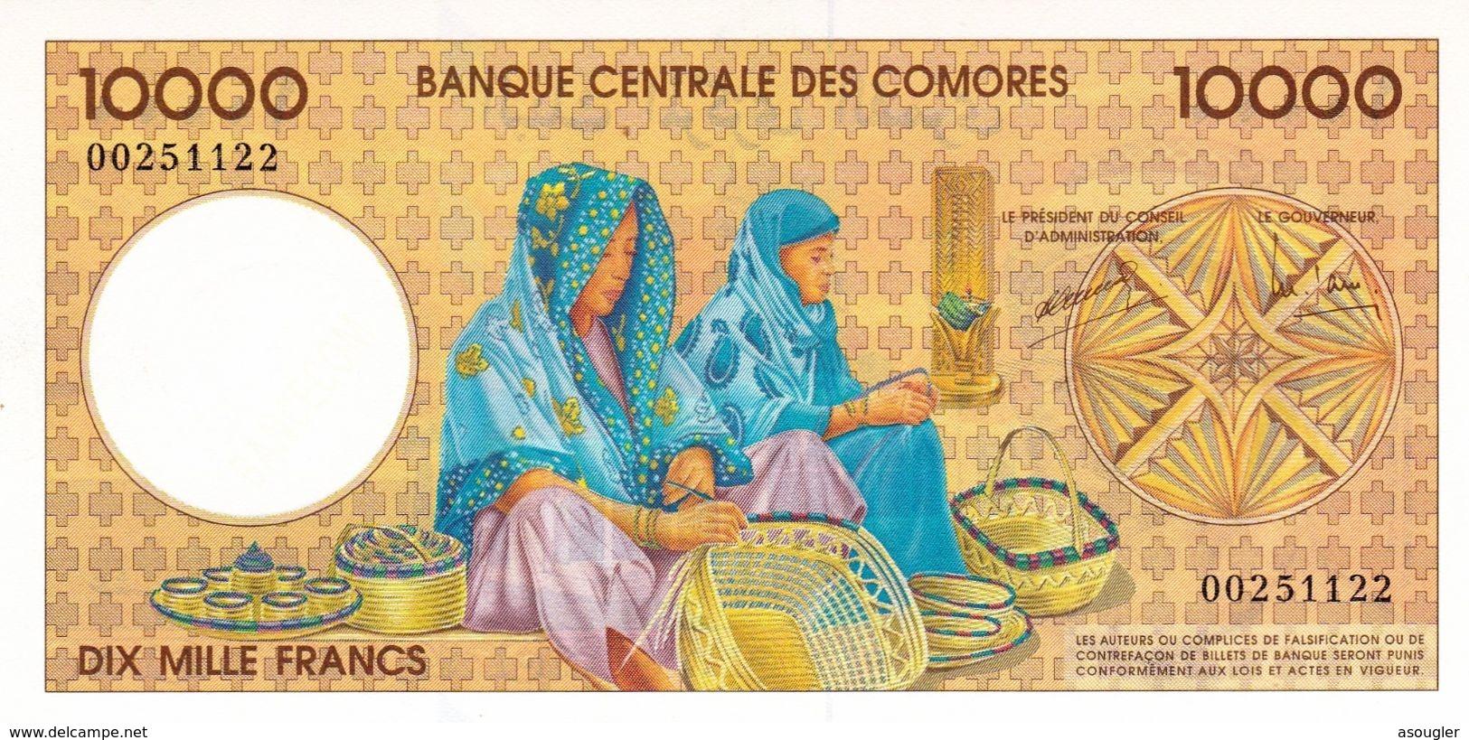 """COMOROS 10000 FRANCS 1997 P-14 UNC """"free Shiping Via Registered Air Mail"""" - Comoren"""