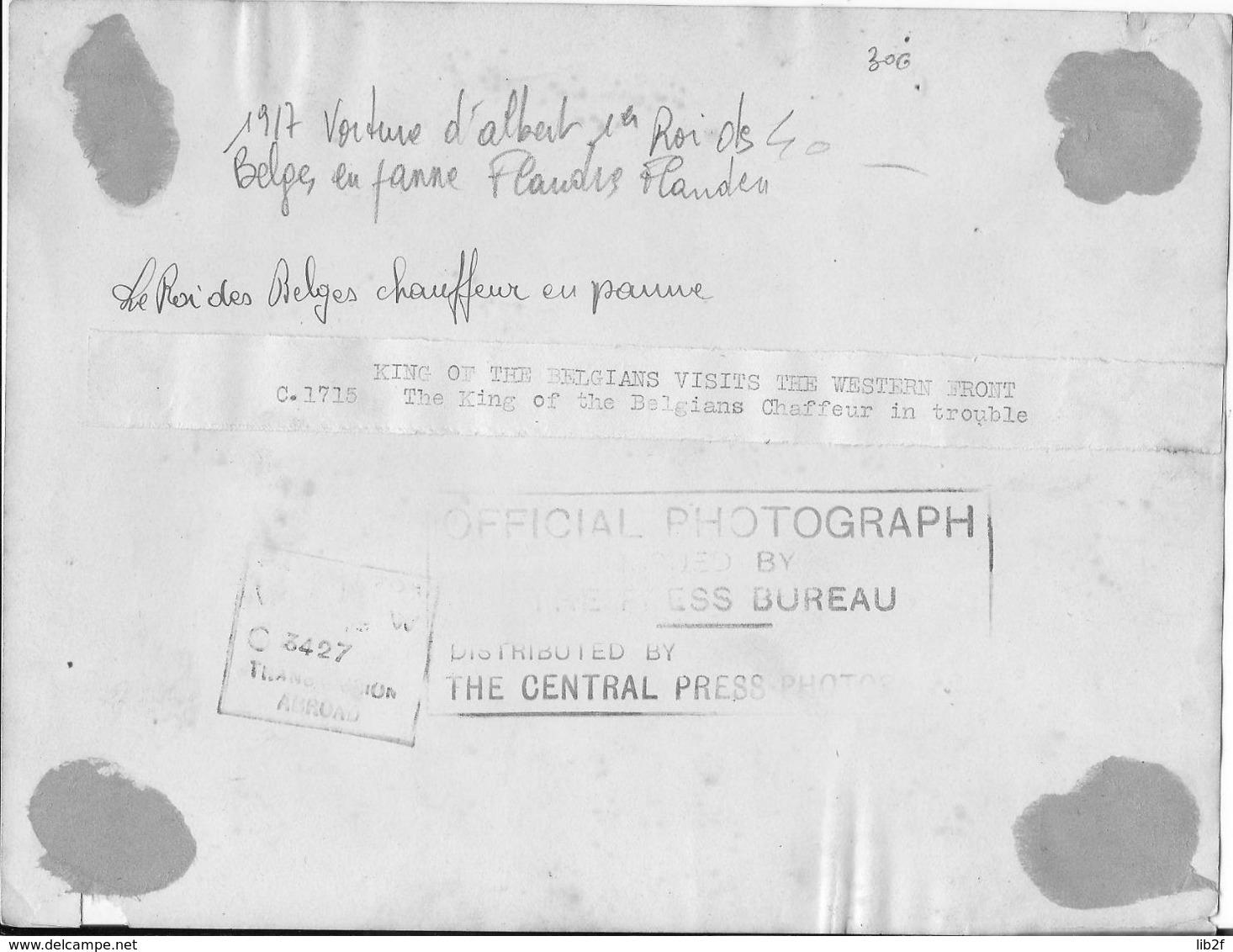 1917 Flandres Flandern Albert Ier Roi Des Belges Voiture En Panne Chauffeur Réparant Les Pneus 1 Photo Ww1 1914-1918 - War, Military