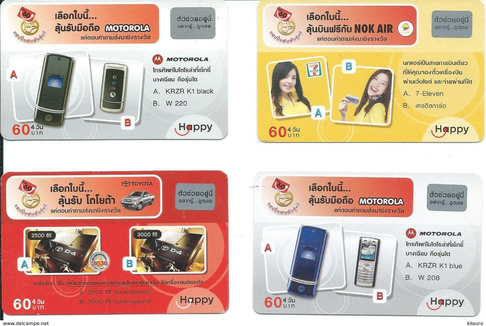 4 Cartes Prépayées Thailande Happy - Téléphone  (D 469) - Thaïlande