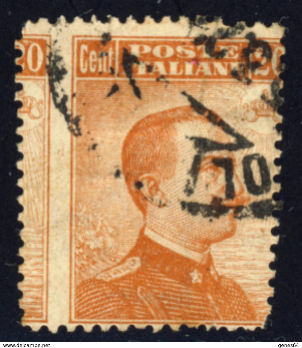 Varieta' Effigie Di V.E.III Tipo Michetti 20 Cent (vedi Descrizione) Signed G.Biondi - Usados