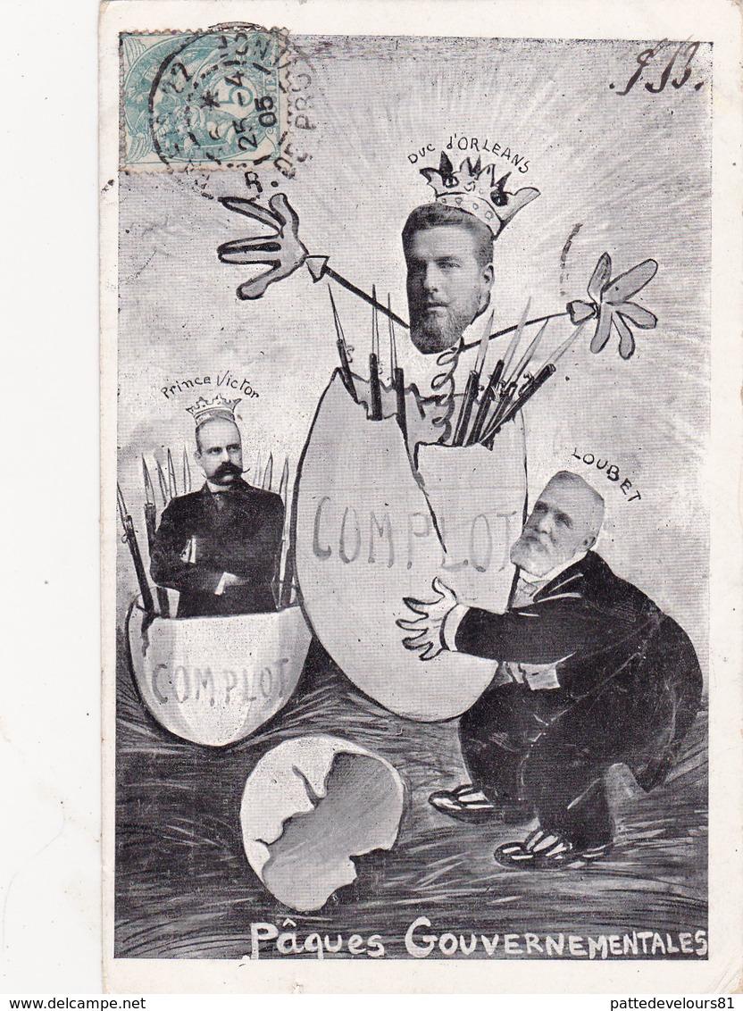 CPA Surréalisme Duc D' ORLEANS LOUBET Prince VICTOR Pâques Oeuf Caricature Satirique Hommes Politiques - Satiriques