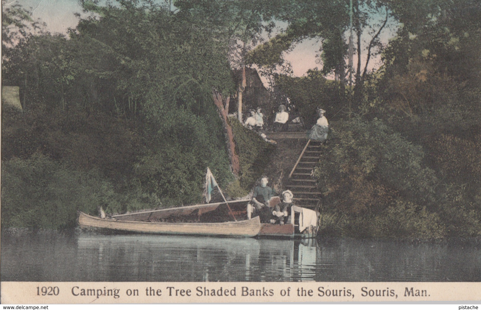 Old Postcard Written In 1912 - Souris Manitoba Man. Canada - Camping On TheTree Shaded Banks - Animated - 2 Scans - Manitoba