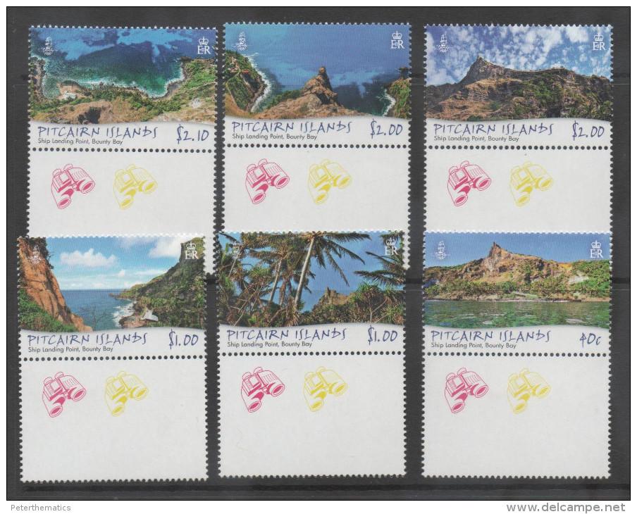 PITCAIRN ISLAND ,2013,MNH,SHIP LANDING POINTS, SCENERY, MOUNTAINS, BEACHES, TREES, , NICE PHOTOS,6v - Geology