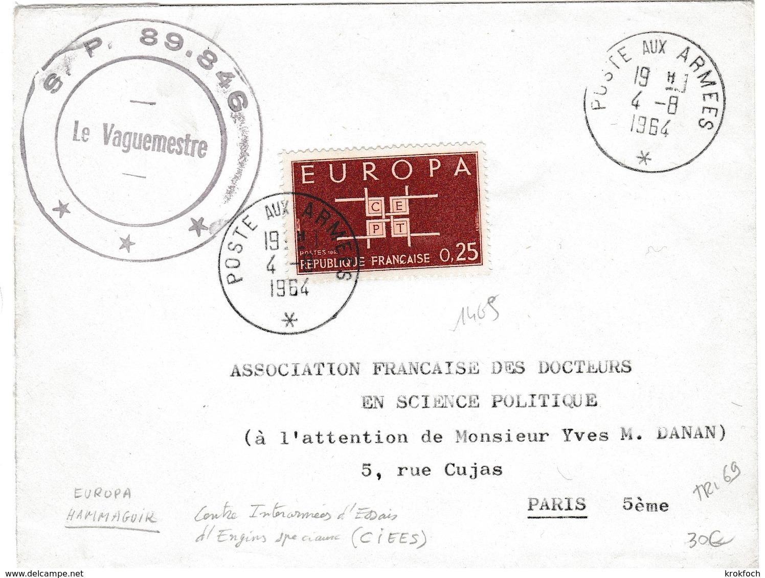 Poste Aux Armées 1964 - SP 89.846 - Sahara Hammaguir Centre Interarmées Engins Spéciaux CIEES - Marcophilie (Lettres)