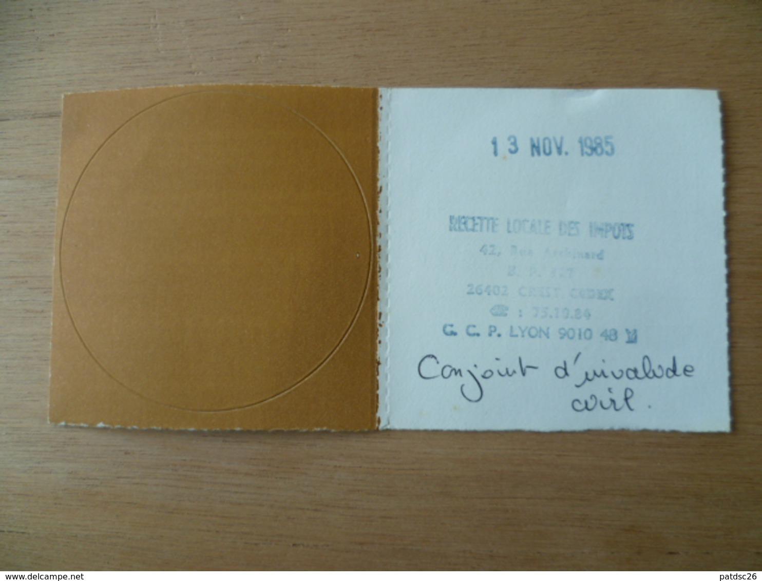 VIGNETTE AUTOMOBILE ENTIERE  GRATIS  1986 - Fiscaux