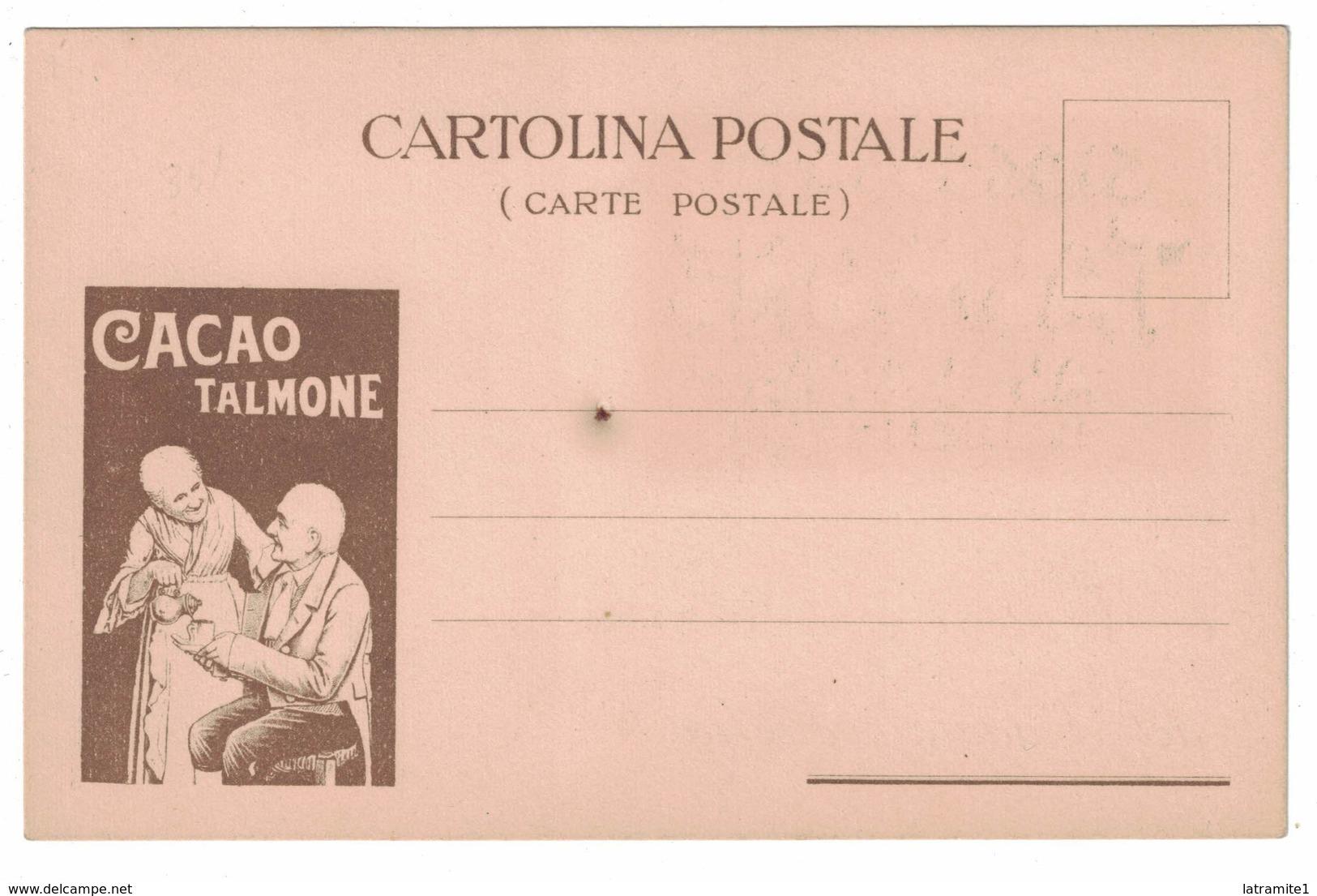 CARTOLINA PUBBLICITARIA CARTE POSTALE CIOCCOLATO TALMONE AL LATTE AVVISO DI PASSAGGIO DEL VIAGGIATORE - Pubblicitari