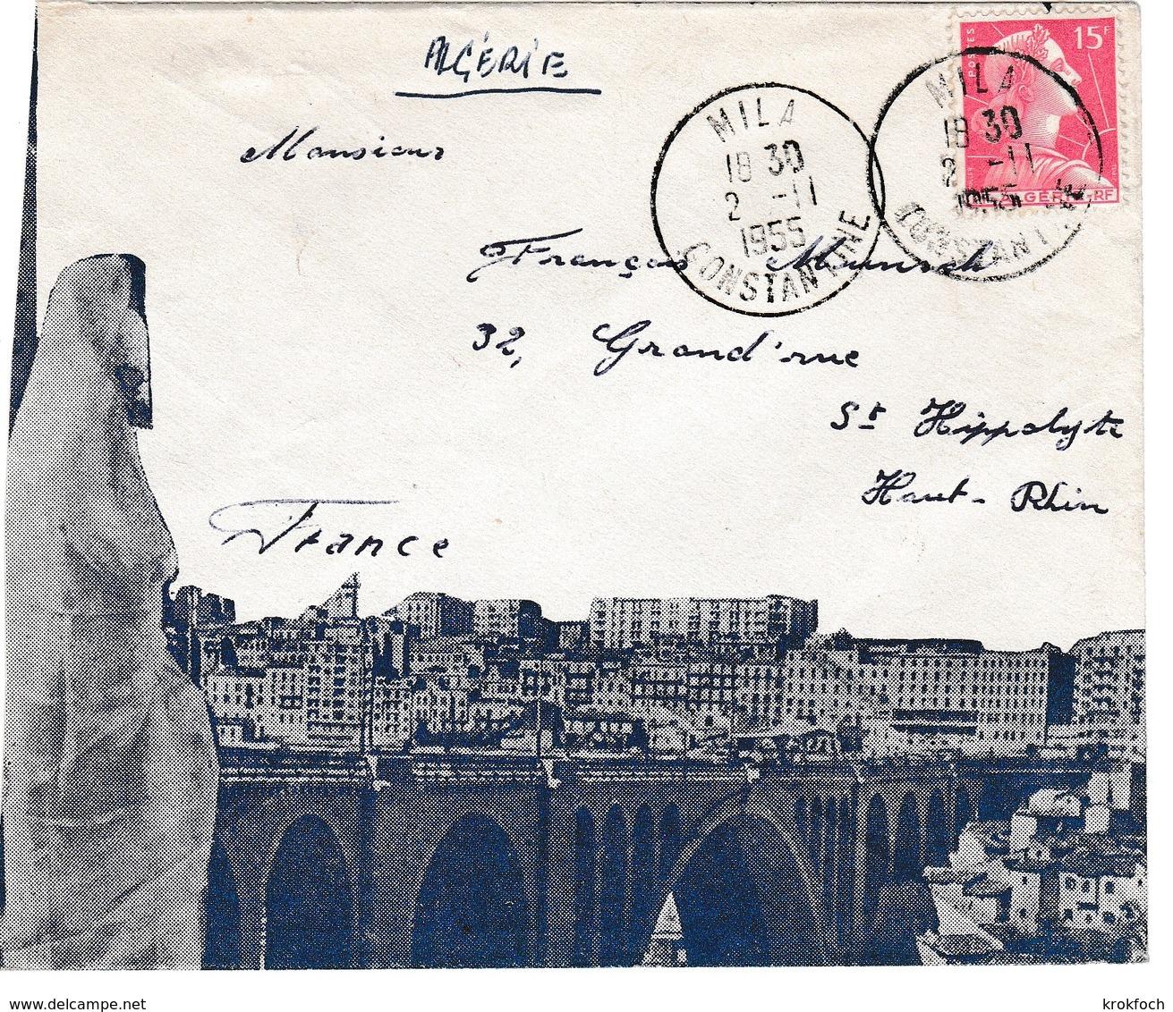 Mila Constantine 1955 - Lettre Cover Brief - Algeria (1924-1962)
