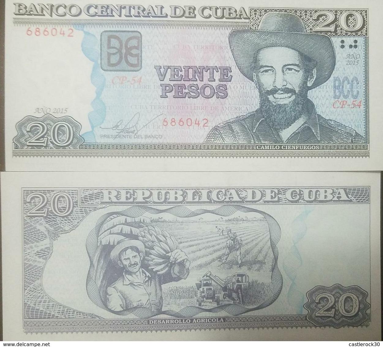L) 2015 CUBA, BANKNOTES, CAMILO CIENFUEGOS, AGRICULTURAL DEVELOPMENT, 20 PESOS, PEOPLE, WORKERS, UNC - Cuba