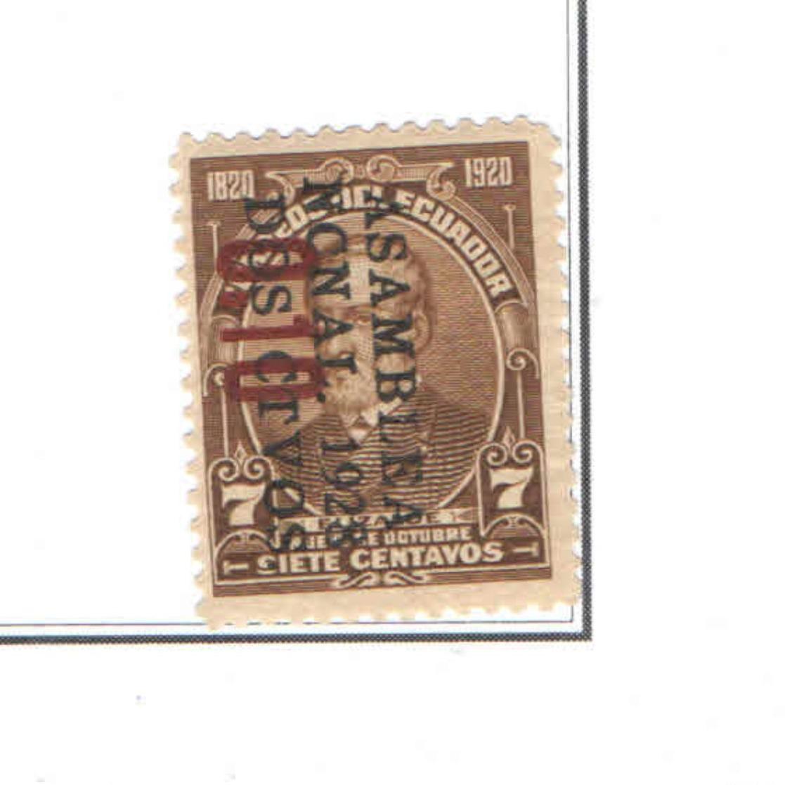 Ecuador PO 1928 1920 Surch..  Scott.284+See Scan On Scott. Page - Ecuador